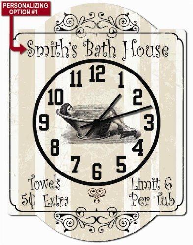 Redeye Laserworks Bath House - Bathroom Personalized Hardboard Clock Sign from