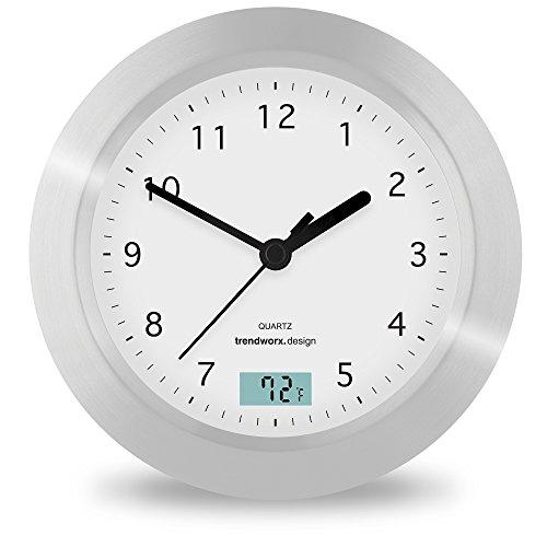 Splash Brands Trendworx 4044-2 Suction Cup Bathroom Clock with Digital Thermometer