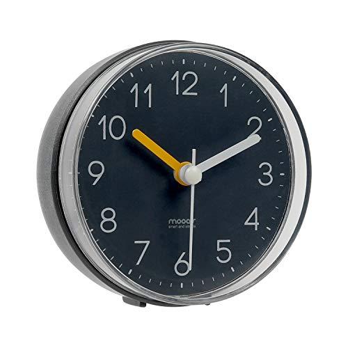 mooas 2WAY Silent Waterproof Bathroom Clock Shower Clock Wall Clock Dark Gray