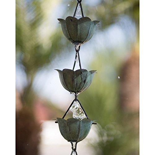 Monarch Intl 285019-lotus Pat Rain Chain Pure Copper Lotus Patina 85 Green