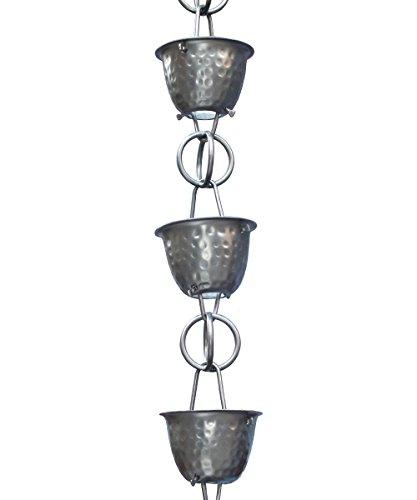 Monarch Rainchain Aluminum Hammered Cup Rain Chain Dark Bronze With Triangular Gutter Clip 85