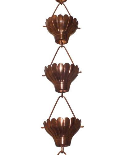 Monarch Rainchains Zinnia Rain Chain 85-feet Copper
