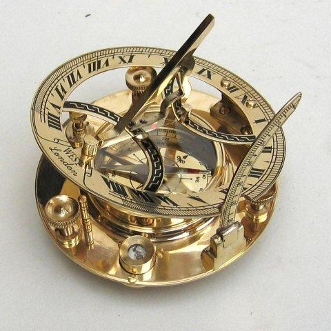 5 Sundial Compass - Solid Brass Sun Dial