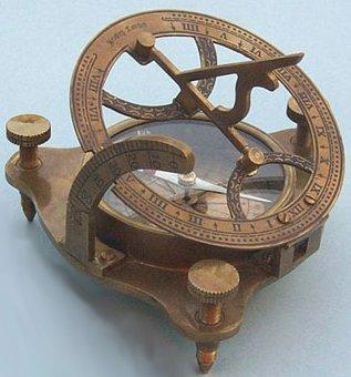 Antique Patina Brass SundialMagnetic Nautical Compass w Hardwood Case