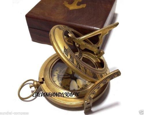 Brass Sundial compass- locket compass with wood case CHX7901