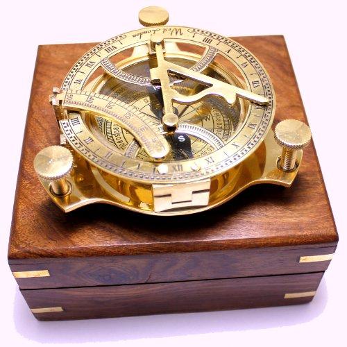 Captains Brass Triangle Sundial Compass 4 - Brass Desk Compasses - Nautical Decor Home Decoration - Executive Promotional Gift