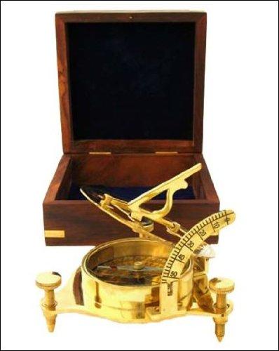 Ectoria Handtooled Handcrafted Brass Sundial Compass Whardwood Box