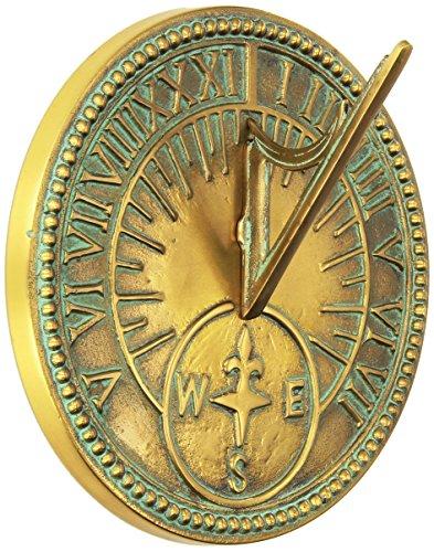 Rome Industries 2310 Roman Sundial Solid Brass With Light Verdi Highlights 8-inch Diameter
