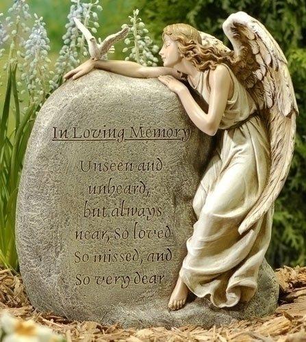 1125&quot Josephs Studio Angel With Memorial Rock Outdoor Garden Statue