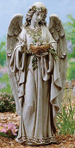 24&quot Josephs Studio Angel Holding Birds Nest Outdoor Garden Statue
