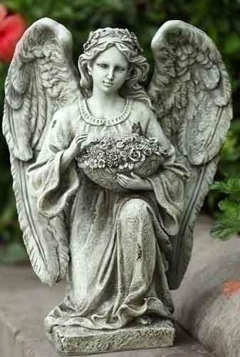 Roman 14-inch Kneeling Angel Garden Statue