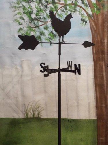 Hen Chicken Garden Style Weathervane Wrought Iron