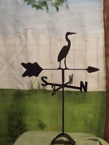 Heron Roof Mounted Weathervane Black Wrought Iron
