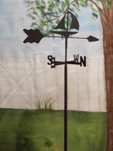 Sailboat Garden Style Weathervane Wrought Iron