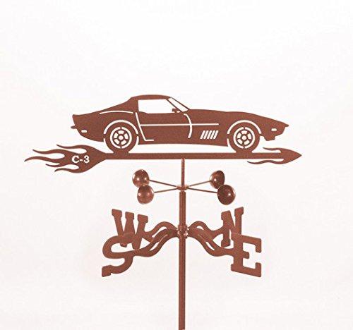 EZ Vane EZ1012-PT Corvette C3 Car Weathervane with Post Mount