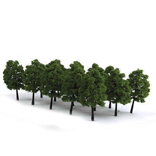 Yardwe Model Trees Miniature Landscape Scenery Train Model Architecture Trees 20PCS 9CM Dark Green