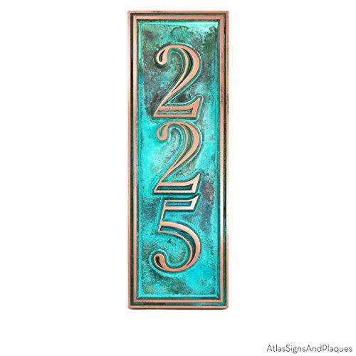 Hesperis Vertical Address Plaque 3 Number 5x15 - Raised Copper Verdi Coated