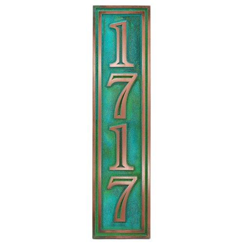 Hesperis Vertical Address Plaque 4 5x20 - Raised Copper Verdi Coated