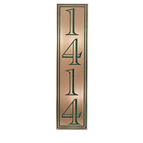 Hesperis Vertical Address Plaque 4 5x20 - Recessed Bronze Verdi Coated
