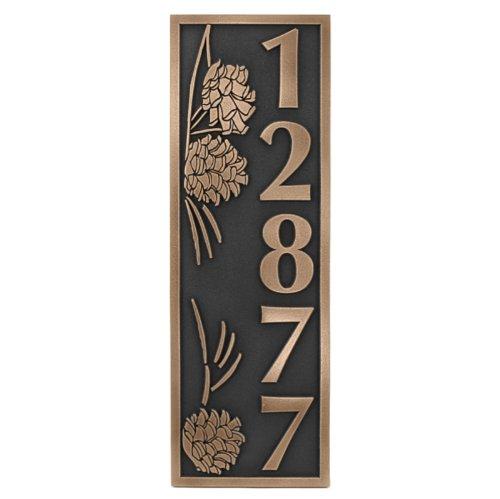 Pine Cone Vertical Address Plaque 65x195 - Raised Bronze Coated