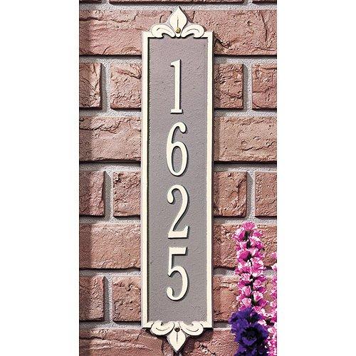 Rectangular Lyon Standard Wall 1-Line Vertical Address Plaque - BlackGold