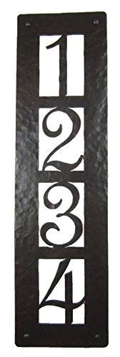 Rustic Custom Hammered Wrought Iron Address Plaque Vertical Apv24 4number bronze