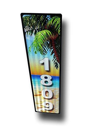 Tropical Beach Vertical Curb Mailbox House Address Plaque Reflective&hellip