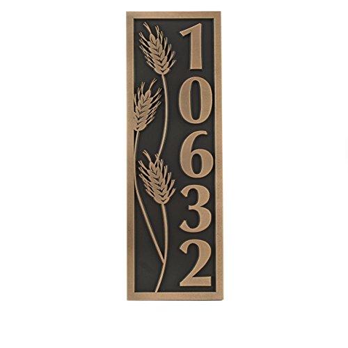 Wheat Motif Vertical Address Plaque 65x195 - Raised Bronze Patina Coated